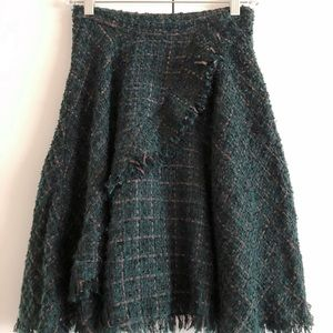 Anthropologie green tweed A line skirt Size 0
